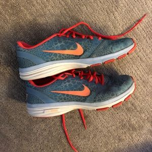 Blue and coral cheetah print Nikes